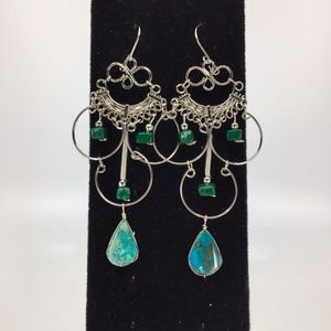 Alpaca Silver Peruvian Turquoise Earrings